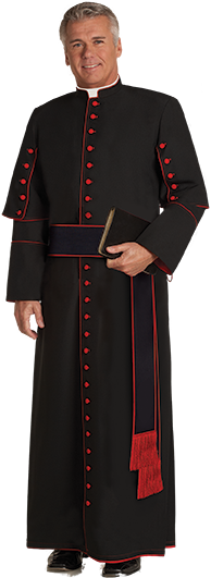 Bishop Clergy Cassock Black with Red Piping