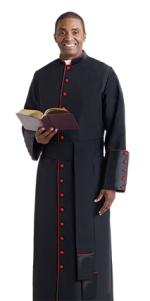 Black Clergy Cassock with Red Accents