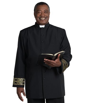 Black Clergy Jacket with Gold Banding