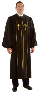 Black Clergy Pulpit Robe Pilgrim Gold Crosses