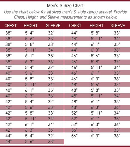 Men's Clergy SIze Chart