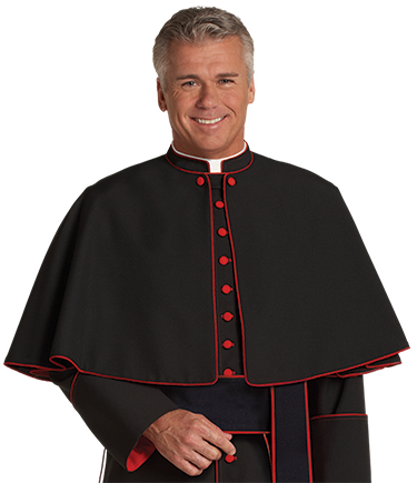 Clergy Shoulder Cape with Scarlet Piping