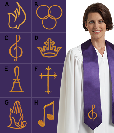 Embroidered Choir Stole – Purple