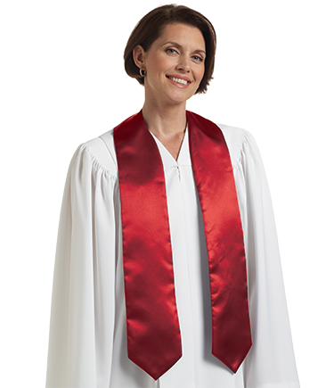 Embroidered Choir Stole - Scarlet