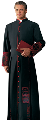 Eminence Black Brocade Bishop Cassock
