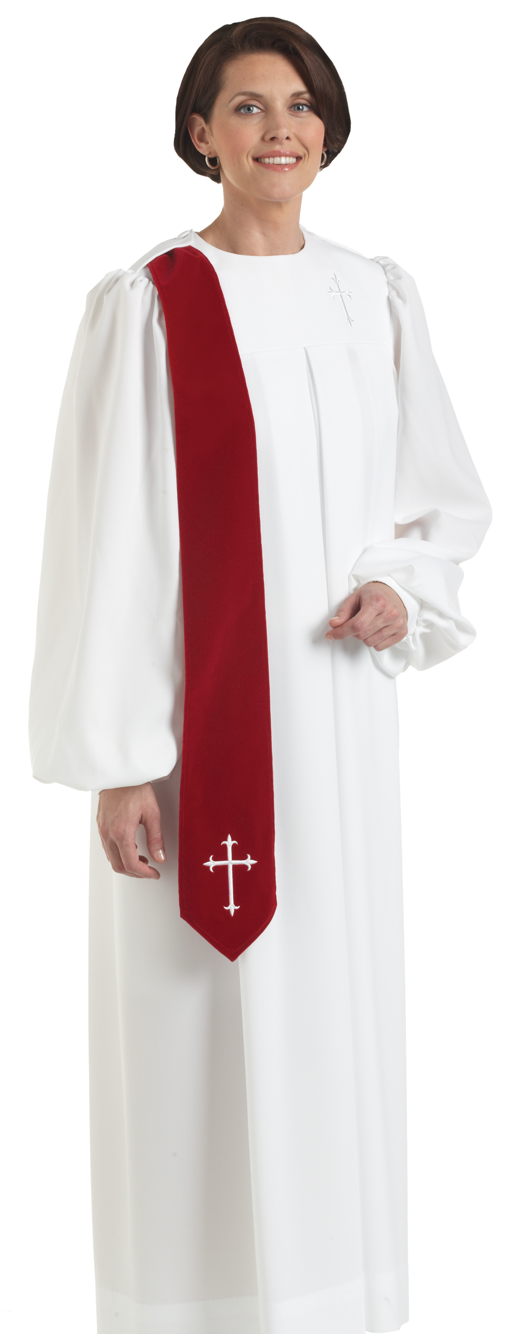Evangelist womens white clergy robe
