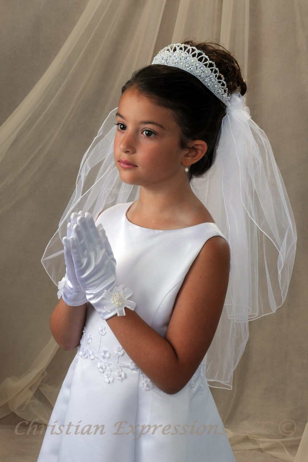 First Communion Pearl Crown Headpiece and Veil