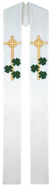 Irish Shamrocks Celtic Cross Clergy Overlay Stole