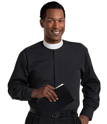 Men's Banded Collar Black Clergy Shirt with Long Sleeves