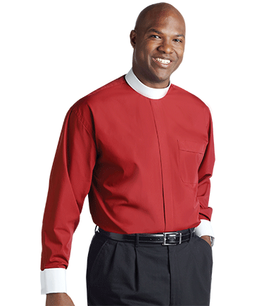 Men's Banded Collar Red Clergy Shirt with French Cuffs