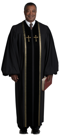 Mens Pulpit Robe Black with Gold Piping and Crosses