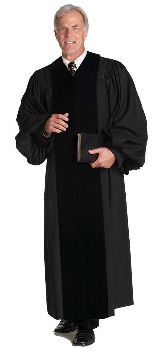 Mens Pulpit Robe Velvet Geneva Black with Black Velvet Panels
