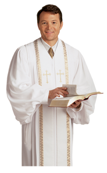 Mens Pulpit Robe White with Gold Piping and Crosses