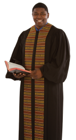 Mens Pulpit Robe with Kente Panels