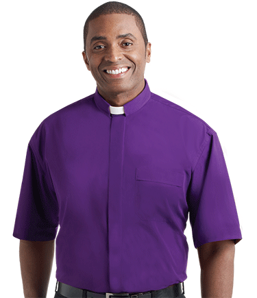Men's Tab Collar Purple Clergy Shirt with Short Sleeves
