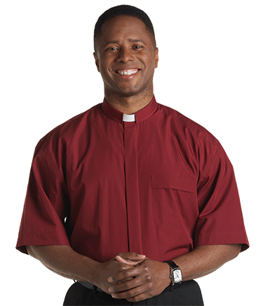 Men's Tab Collar Red Clergy Shirt with Short Sleeves
