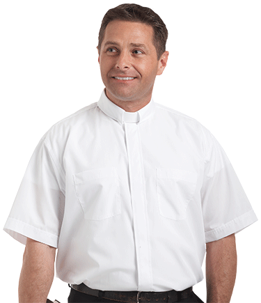 Men's Tab Collar White Clergy Shirt with Short Sleeves