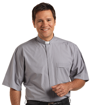 Men's Tab Collar Gray Clergy Shirt with Short Sleeves