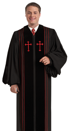 Pulpit Clergy Robe Bishop Black with Red Trim