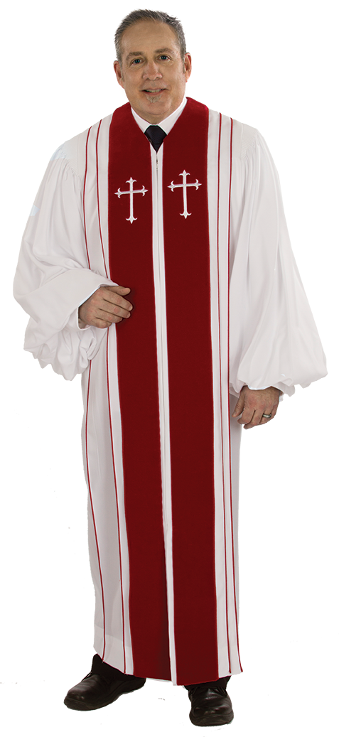 Pulpit Clergy Robe Bishop White with Red trim