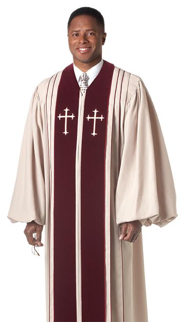 Pulpit Clergy Robe Bishop with Maroon Trim