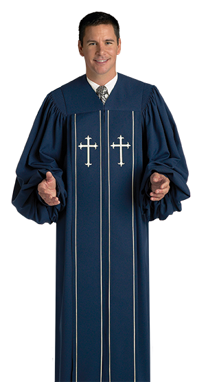 Pulpit Clergy Robe Cleric Blue with Cream Trim