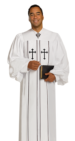 Pulpit Clergy Robe Cleric White with Black Trim