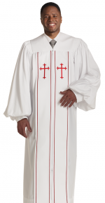 Pulpit Clergy Robe Cleric White with Red Trim