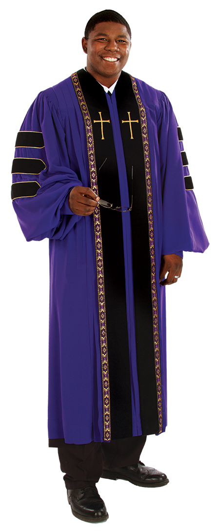 Pulpit Clergy Robe Wesley Purple with Black Doctoral Bars