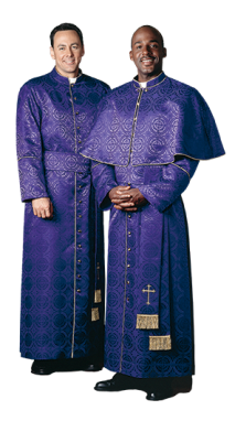 Purple Brocade Bishop Clergy Cassock