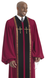 Red Pulpit Robe with Black Panels Gold Crosses