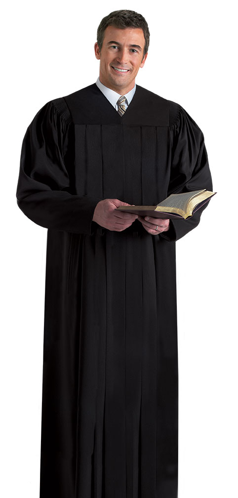 Traditional Black Pulpit Robe for Preaching