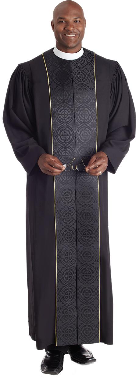 Vicar Pulpit Robe Black with Black Panels