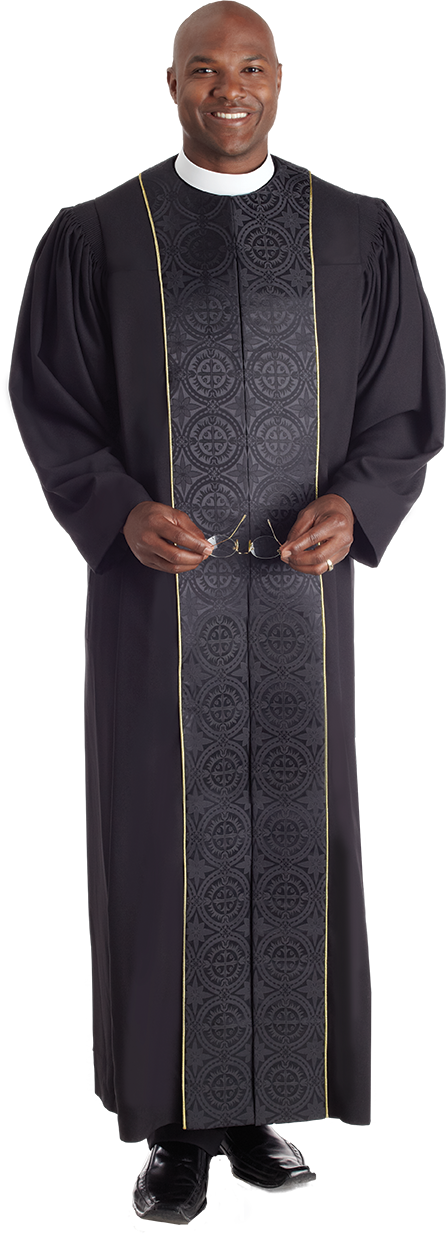 Vicar Pulpit Robe Black with Black Panels