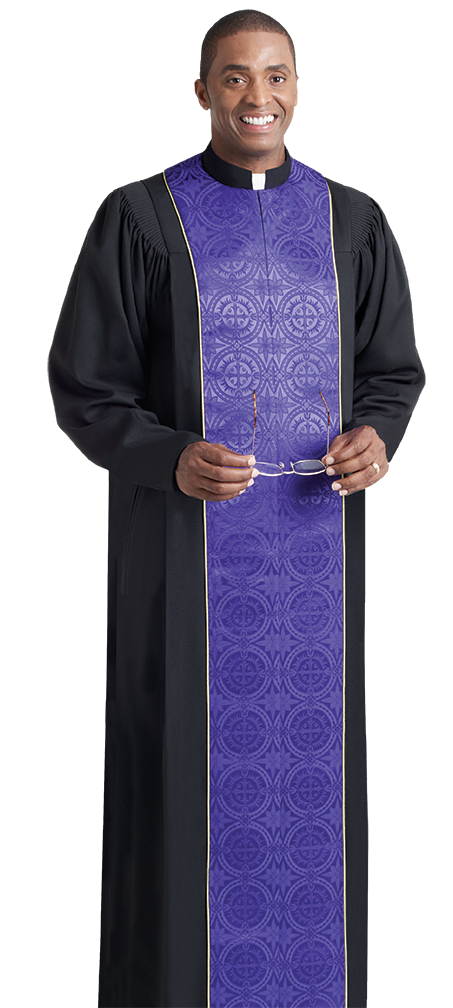 Vicar Pulpit Robe Black with Purple Panels