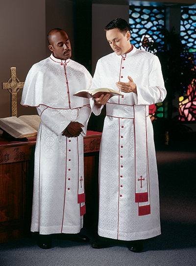 White Clergy Cassock with Red Piping