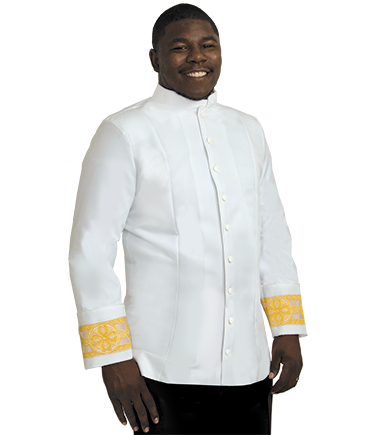 White Clergy Jacket With Gold Banding