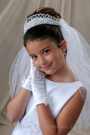 White First Communion Pearl Crown Headpiece and Veil