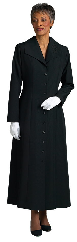 Womens Black Clergy Church Dress with Praying Hands