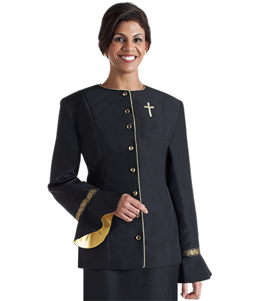 Women's Black Clergy Suit Jacket with Flaired Sleeves