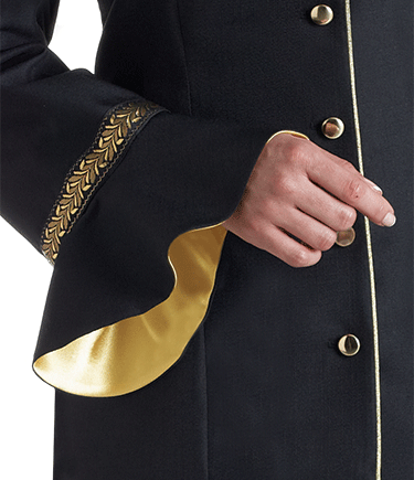 Women's Black Clergy Jacket with Flaired Sleeves