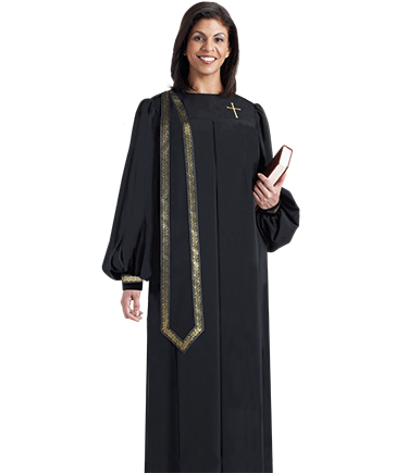Women's Black Evangelist Clergy Robe with Stole