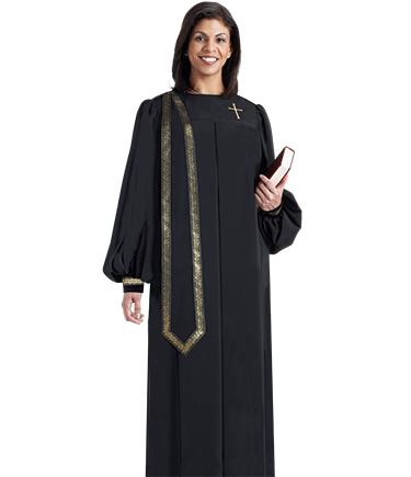 Women's Black Evangelist Clergy Robe with Stole