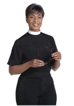 Womens Neckband Collar Clergy Blouse Black Short Sleeve