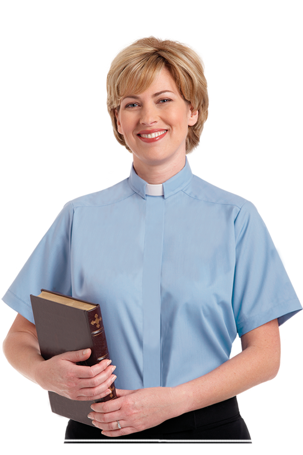 Womens Tab Collar Blue Short Sleeve Clergy Blouse