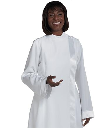 Womens White Clergy Alb with Satin Trim