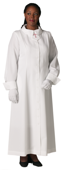 Womens White Clergy Church Dress with Red Latin Cross