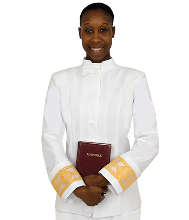 Womens White Clergy Jacket with Gold Banding