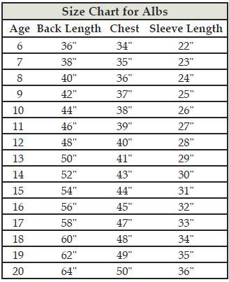 Altar Server Alb Size Chart