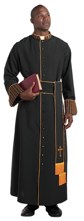 bishop cassock with kente collar and cuffs